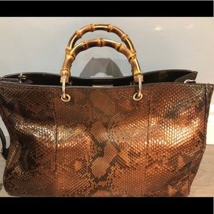 Gucci Python Bamboo Handle Large Shopper Tote